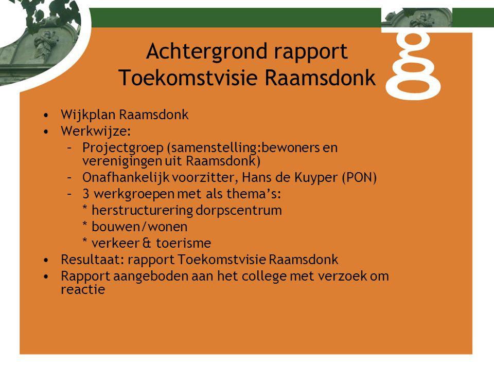 Achtergrond rapport Toekomstvisie Raamsdonk Wijkplan Raamsdonk Werkwijze: –Projectgroep (samenstelling:bewoners en verenigingen uit Raamsdonk) –Onafha