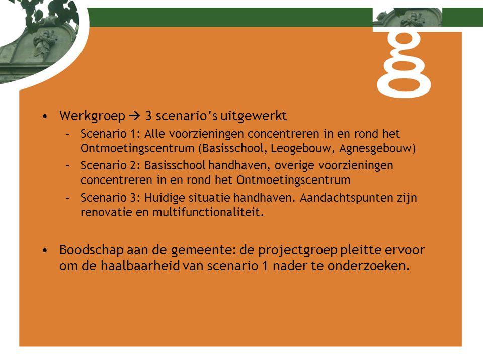 Werkgroep  3 scenario's uitgewerkt –Scenario 1: Alle voorzieningen concentreren in en rond het Ontmoetingscentrum (Basisschool, Leogebouw, Agnesgebou