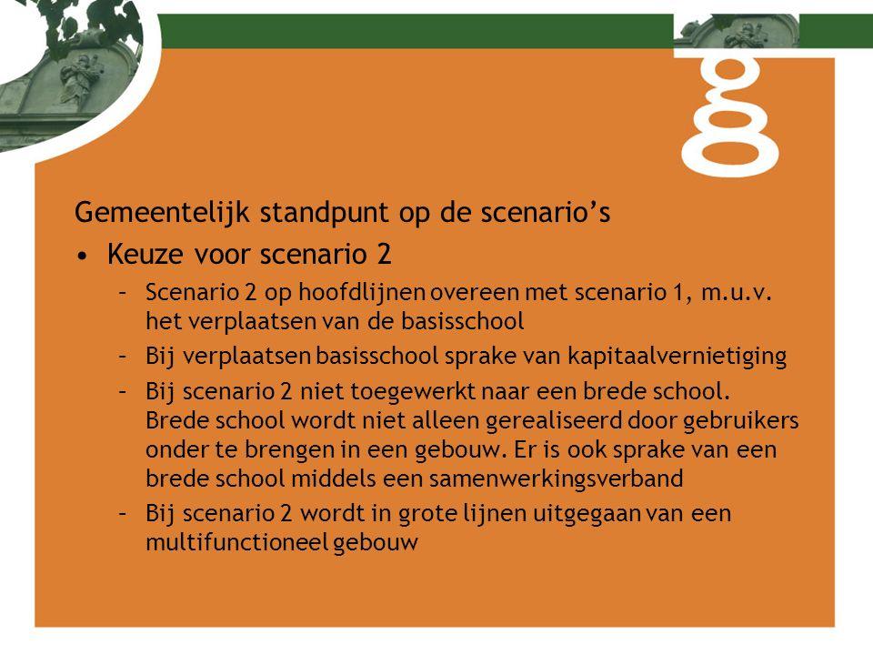 Gemeentelijk standpunt op de scenario's Keuze voor scenario 2 –Scenario 2 op hoofdlijnen overeen met scenario 1, m.u.v. het verplaatsen van de basissc