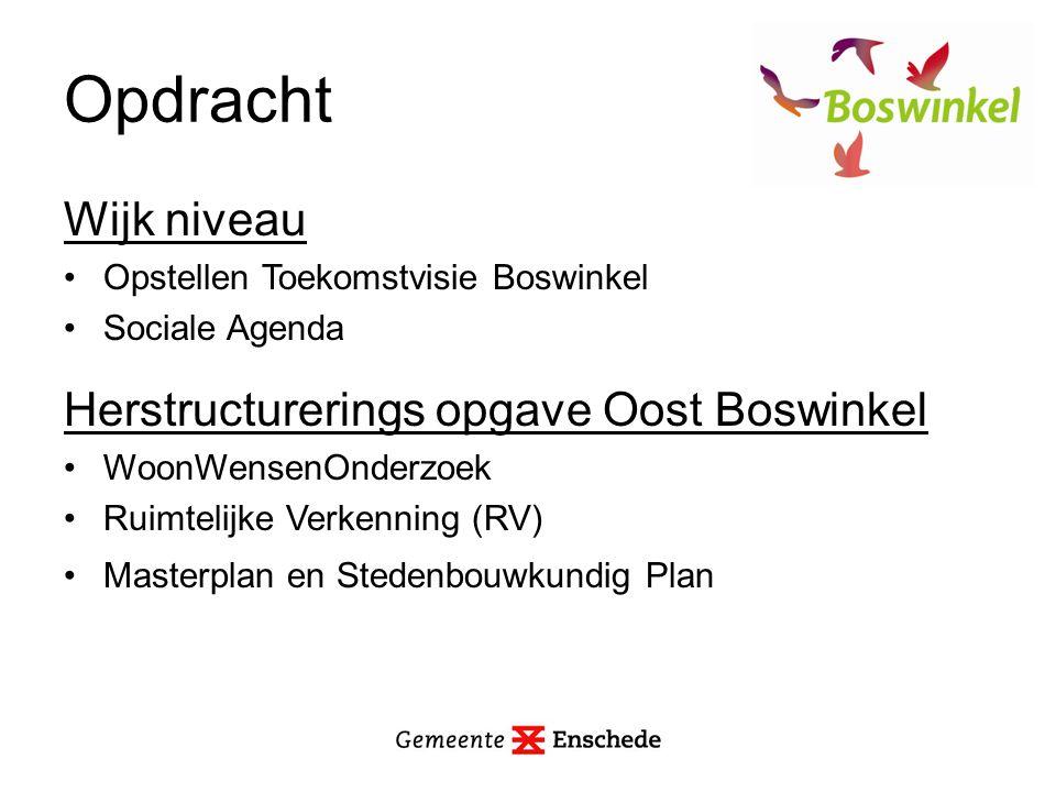 Opdracht Wijk niveau Opstellen Toekomstvisie Boswinkel Sociale Agenda Herstructurerings opgave Oost Boswinkel WoonWensenOnderzoek Ruimtelijke Verkenning (RV) Masterplan en Stedenbouwkundig Plan
