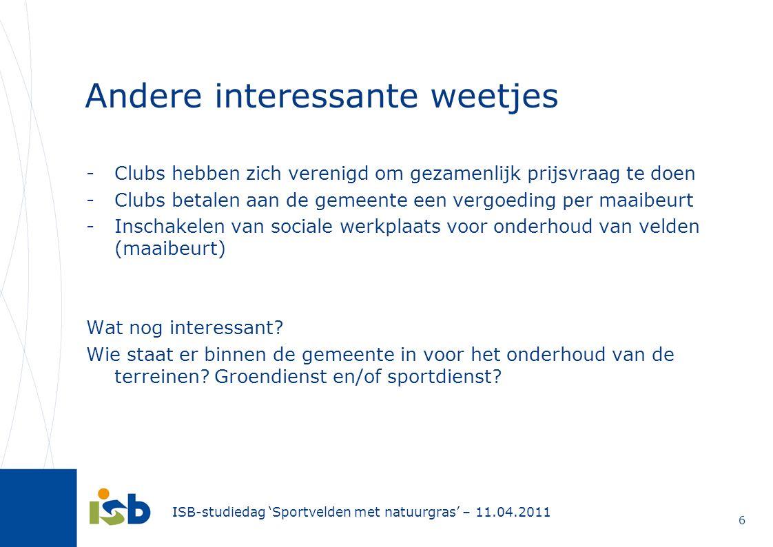 ISB-studiedag 'Sportvelden met natuurgras' – 11.04.2011 6 Andere interessante weetjes -Clubs hebben zich verenigd om gezamenlijk prijsvraag te doen -C