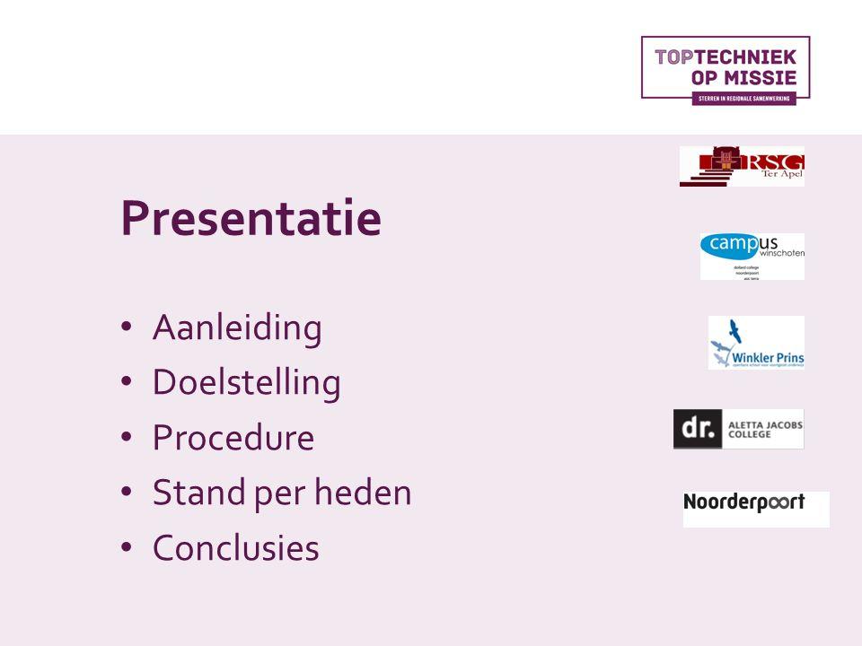 Presentatie Aanleiding Doelstelling Procedure Stand per heden Conclusies