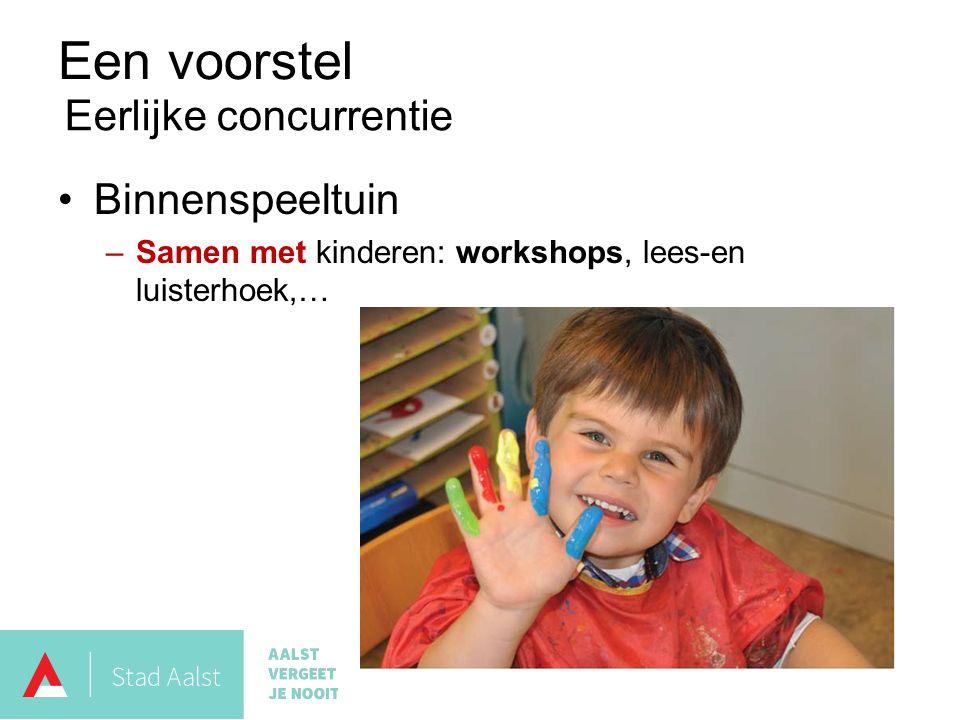 Een voorstel Binnenspeeltuin –Samen met kinderen: workshops, lees-en luisterhoek,… Eerlijke concurrentie
