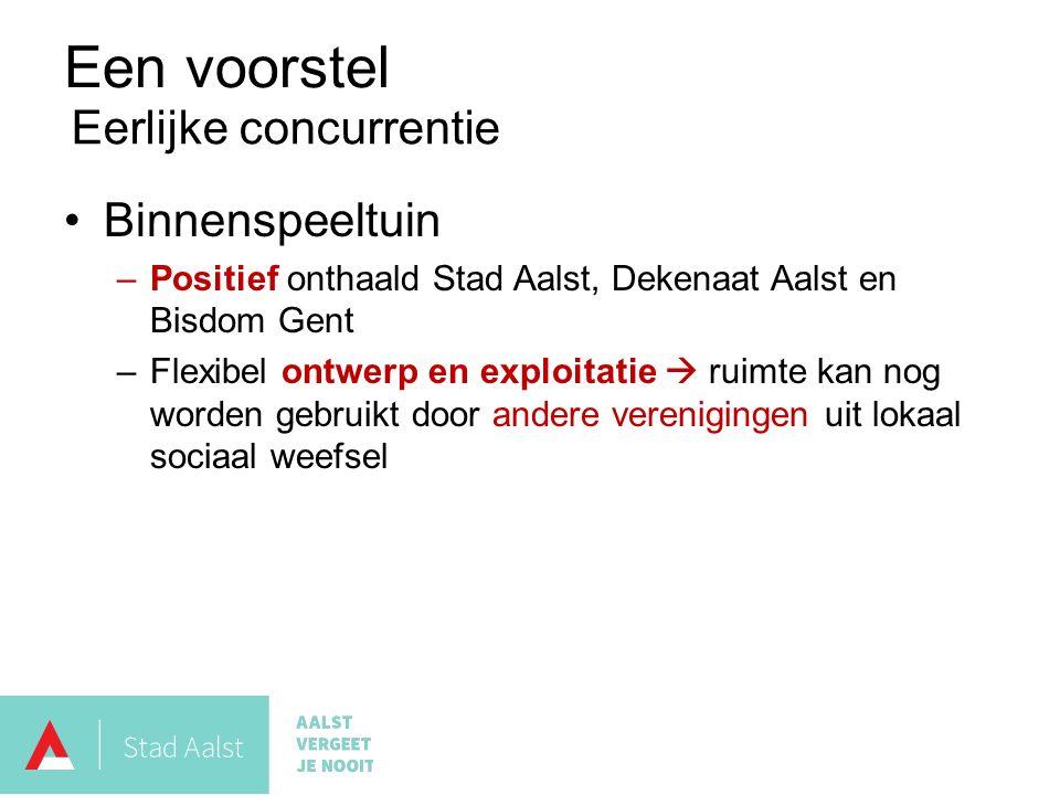 Een voorstel Binnenspeeltuin –Positief onthaald Stad Aalst, Dekenaat Aalst en Bisdom Gent –Flexibel ontwerp en exploitatie  ruimte kan nog worden gebruikt door andere verenigingen uit lokaal sociaal weefsel Eerlijke concurrentie