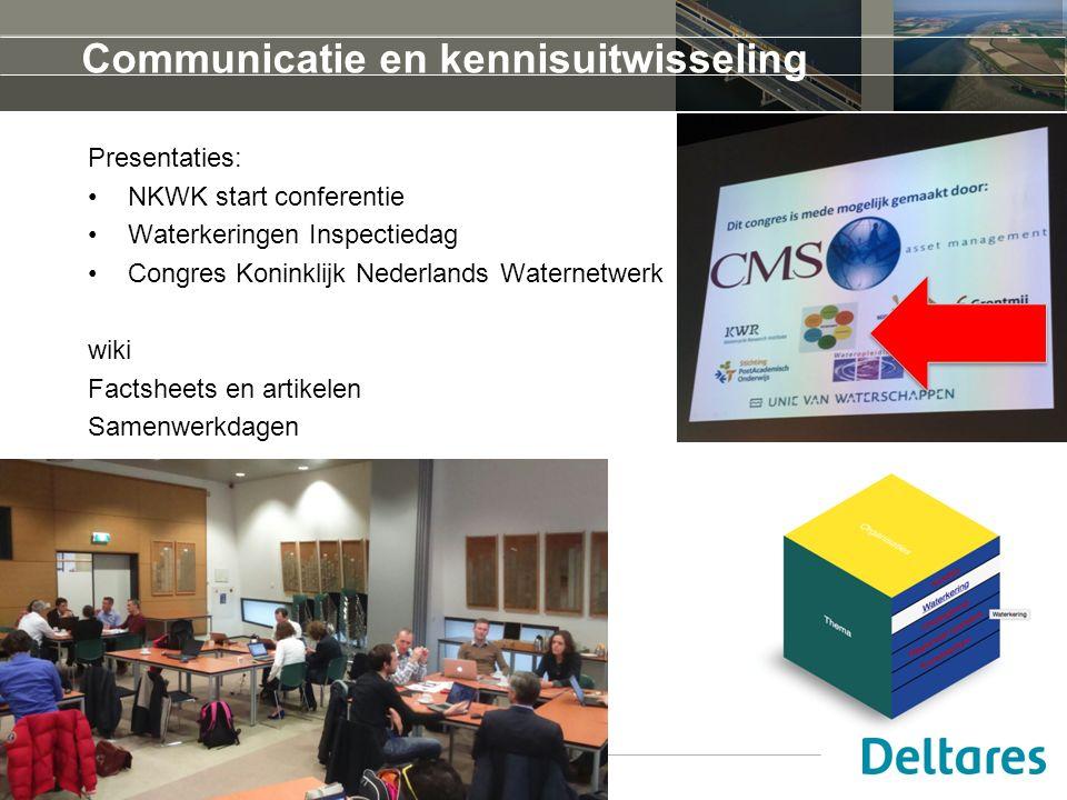 Communicatie en kennisuitwisseling Presentaties: NKWK start conferentie Waterkeringen Inspectiedag Congres Koninklijk Nederlands Waternetwerk wiki Factsheets en artikelen Samenwerkdagen 16 oktober 2015