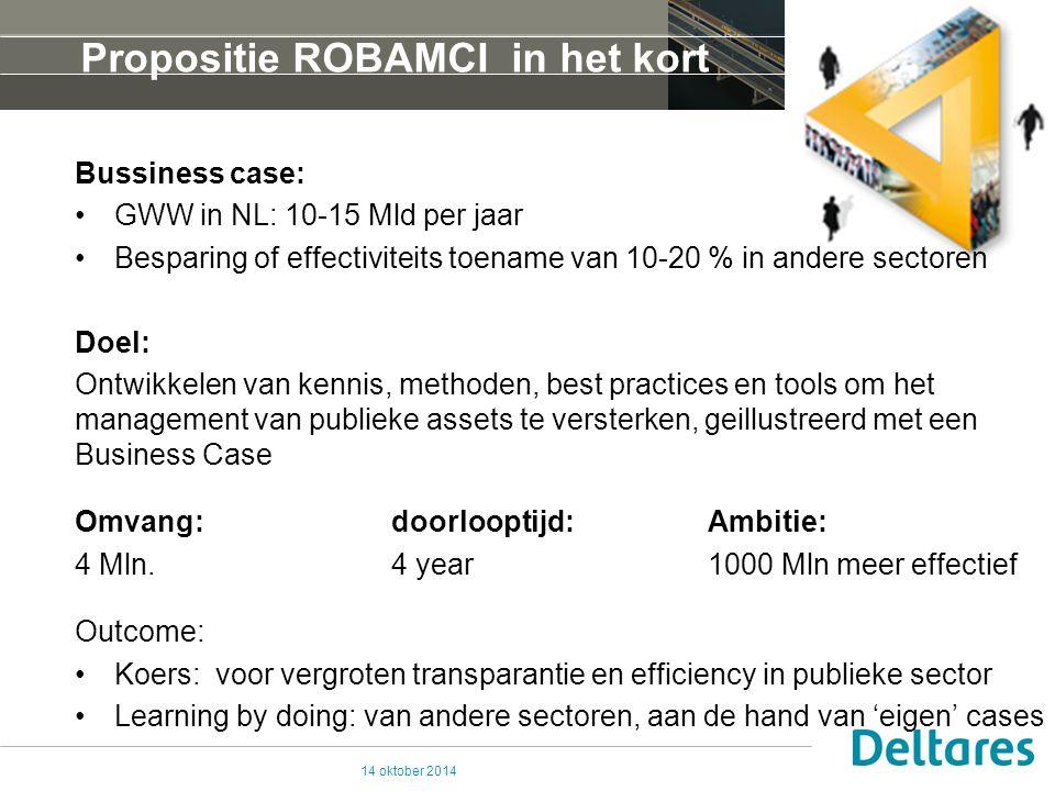 Propositie ROBAMCI in het kort Bussiness case: GWW in NL: 10-15 Mld per jaar Besparing of effectiviteits toename van 10-20 % in andere sectoren Doel: Ontwikkelen van kennis, methoden, best practices en tools om het management van publieke assets te versterken, geillustreerd met een Business Case Omvang:doorlooptijd:Ambitie: 4 Mln.
