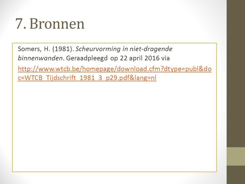 7. Bronnen Somers, H. (1981). Scheurvorming in niet-dragende binnenwanden.