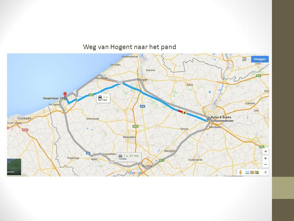 Weg van Hogent naar het pand