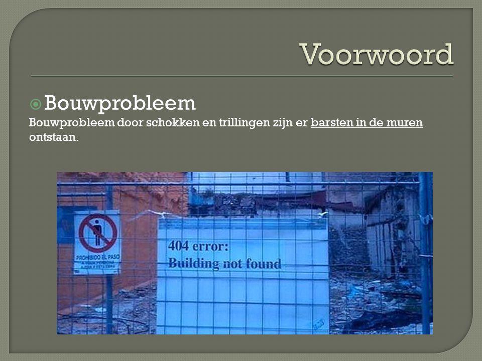  Bouwprobleem Bouwprobleem door schokken en trillingen zijn er barsten in de muren ontstaan.