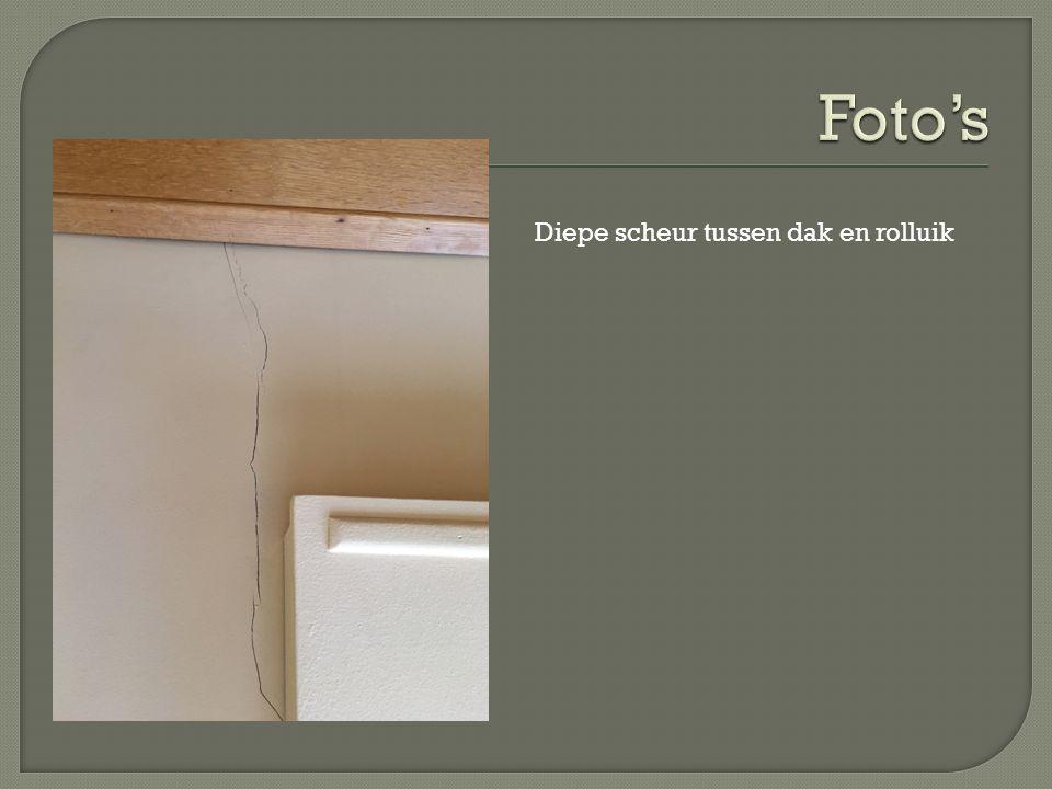  Zoals op de foto's te zien is zijn er in de hele woning verscheidene scheuren ontstaan in de muren.