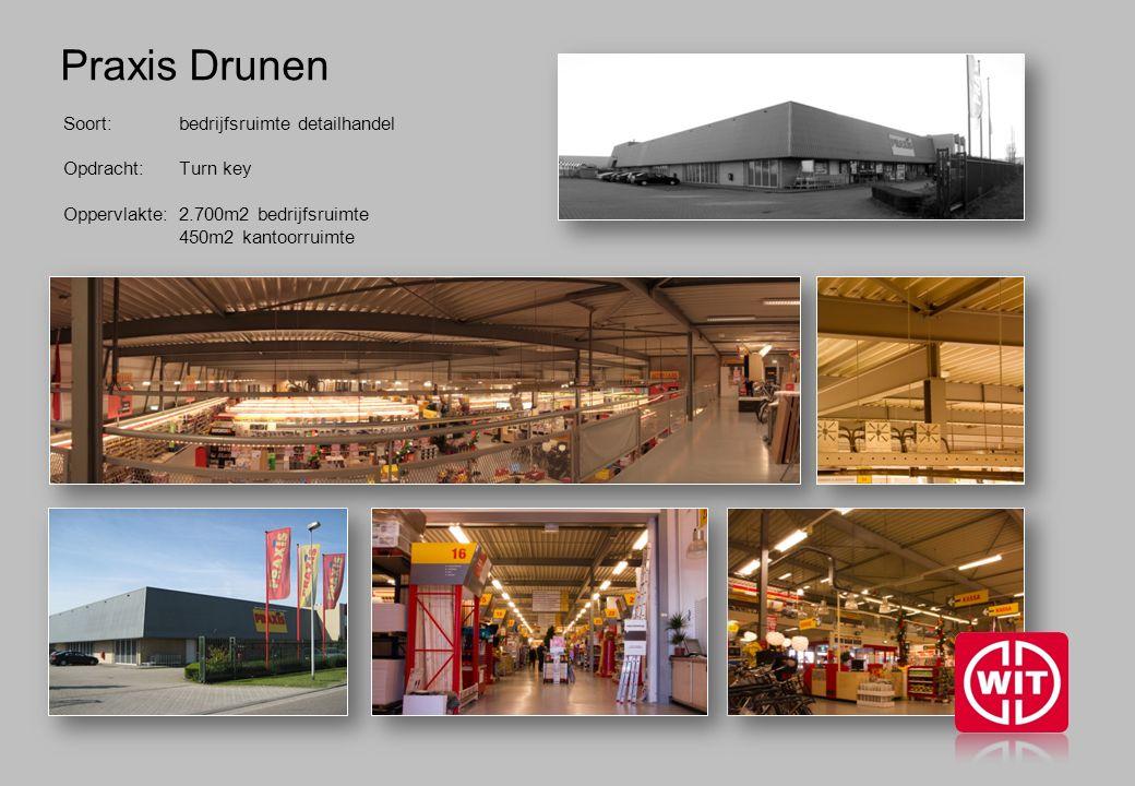 Praxis Drunen Soort: bedrijfsruimte detailhandel Opdracht: Turn key Oppervlakte: 2.700m2 bedrijfsruimte 450m2 kantoorruimte