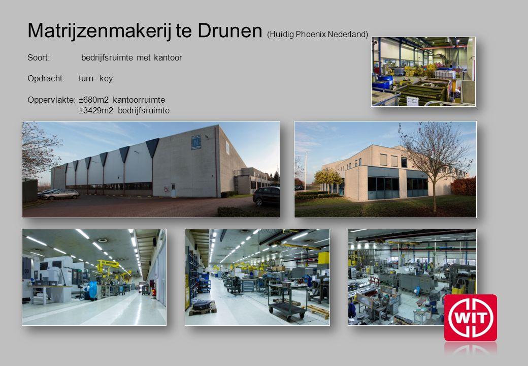 Matrijzenmakerij te Drunen (Huidig Phoenix Nederland) Soort: bedrijfsruimte met kantoor Opdracht: turn- key Oppervlakte:±680m2 kantoorruimte ±3429m2 bedrijfsruimte