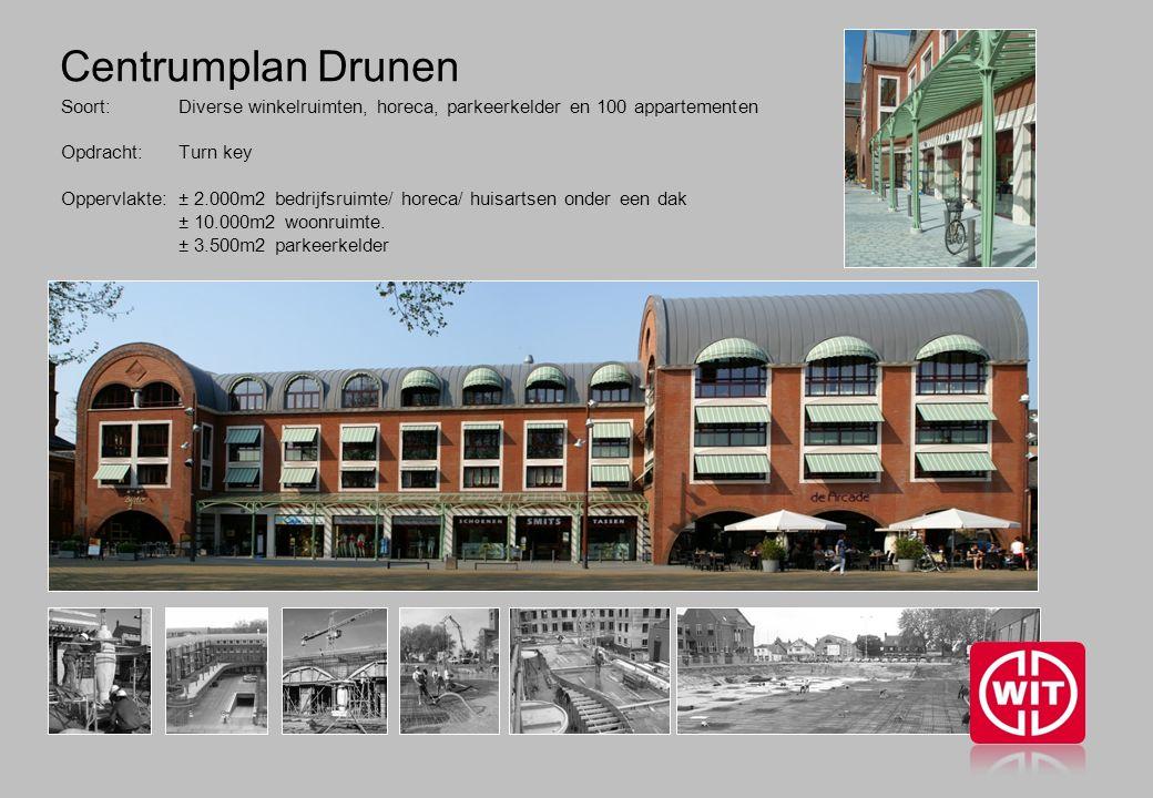 Centrumplan Drunen Soort: Diverse winkelruimten, horeca, parkeerkelder en 100 appartementen Opdracht: Turn key Oppervlakte: ± 2.000m2 bedrijfsruimte/ horeca/ huisartsen onder een dak ± 10.000m2 woonruimte.