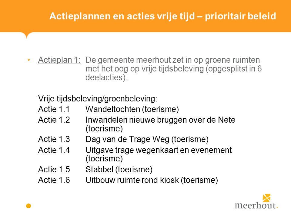 Actieplannen en acties vrije tijd – prioritair beleid Actieplan 1: De gemeente meerhout zet in op groene ruimten met het oog op vrije tijdsbeleving (opgesplitst in 6 deelacties).