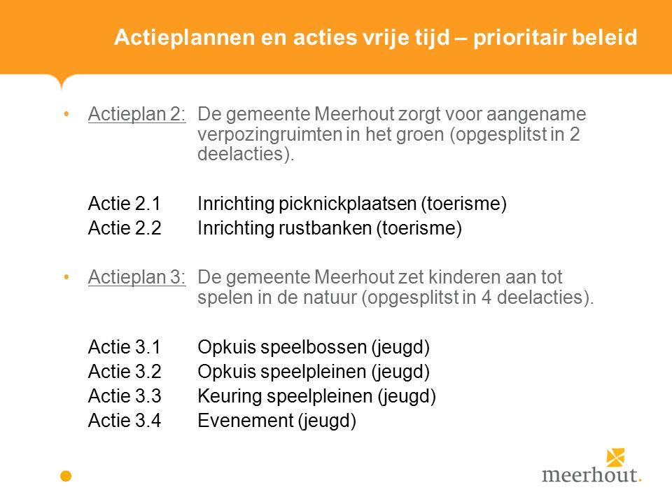 Actieplannen en acties vrije tijd – prioritair beleid Actieplan 2: De gemeente Meerhout zorgt voor aangename verpozingruimten in het groen (opgesplitst in 2 deelacties).
