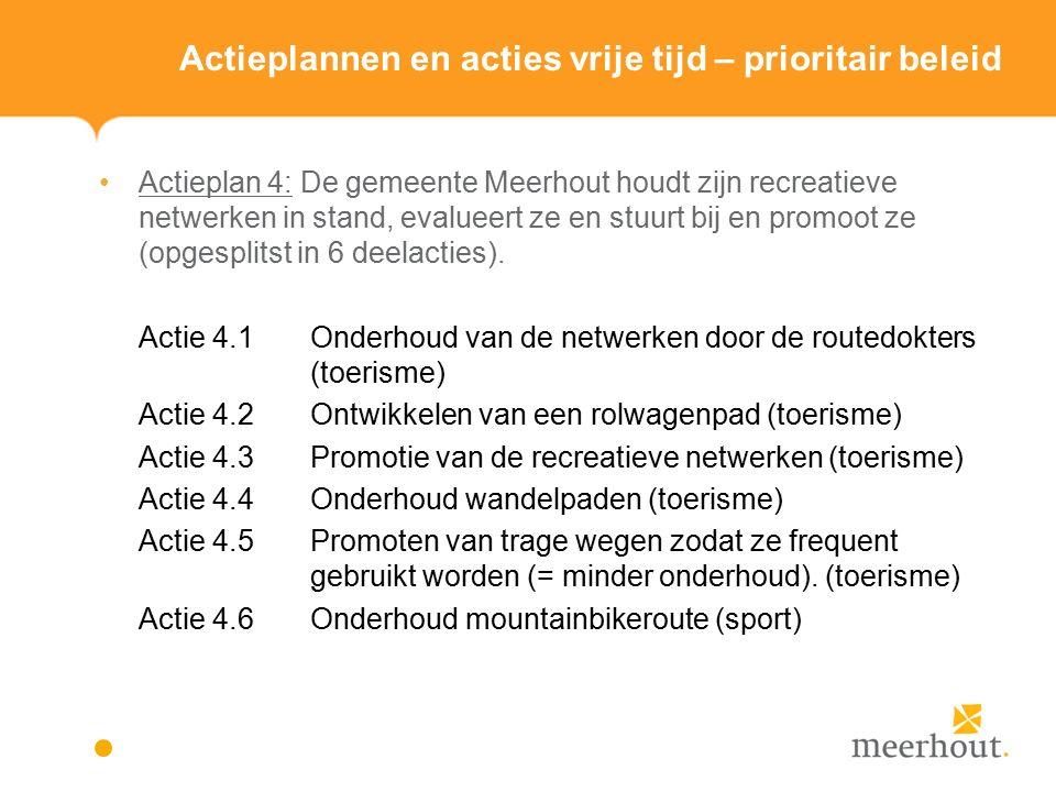 Actieplannen en acties vrije tijd – prioritair beleid Actieplan 4: De gemeente Meerhout houdt zijn recreatieve netwerken in stand, evalueert ze en stuurt bij en promoot ze (opgesplitst in 6 deelacties).