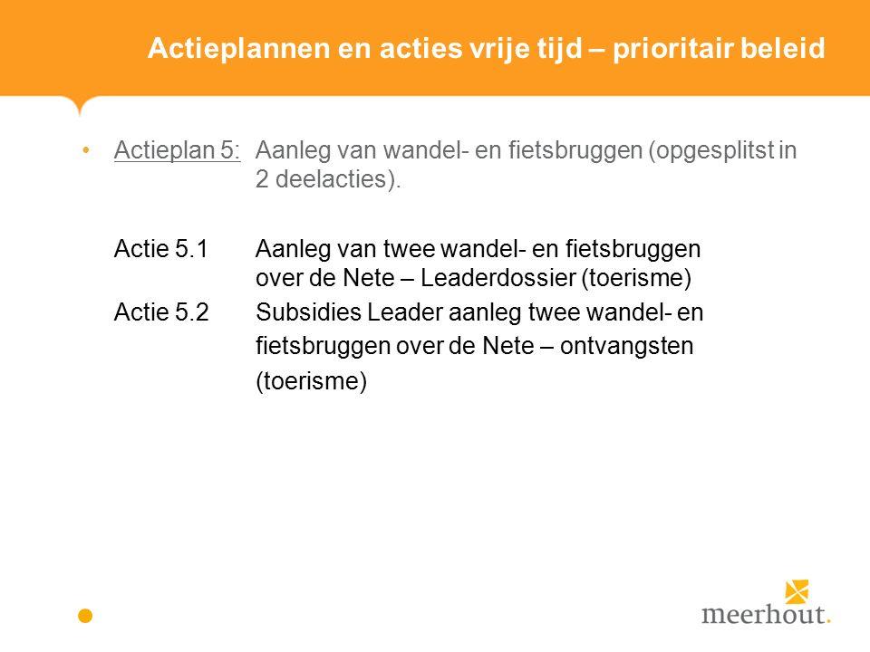 Actieplannen en acties vrije tijd – prioritair beleid Actieplan 5: Aanleg van wandel- en fietsbruggen (opgesplitst in 2 deelacties).