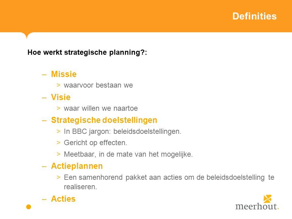 Definities Hoe werkt strategische planning : –Missie >waarvoor bestaan we –Visie >waar willen we naartoe –Strategische doelstellingen >In BBC jargon: beleidsdoelstellingen.