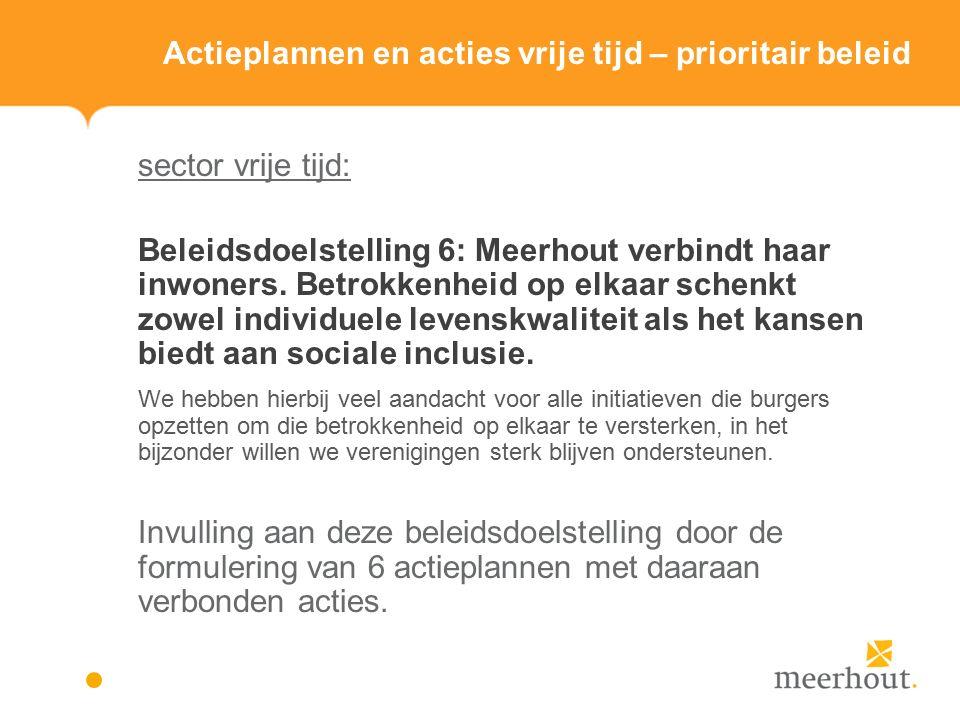 Actieplannen en acties vrije tijd – prioritair beleid sector vrije tijd: Beleidsdoelstelling 6: Meerhout verbindt haar inwoners.