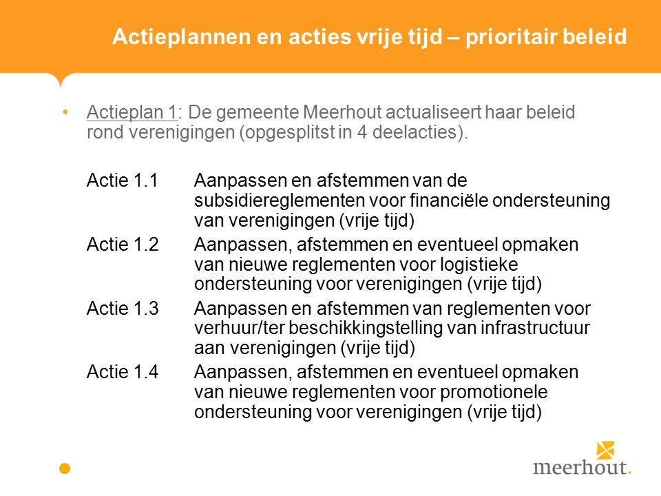 Actieplannen en acties vrije tijd – prioritair beleid Actieplan 1: De gemeente Meerhout actualiseert haar beleid rond verenigingen (opgesplitst in 4 deelacties).