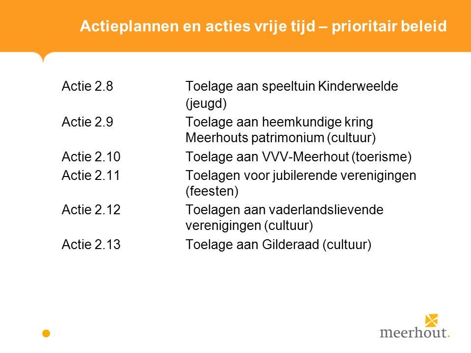 Actieplannen en acties vrije tijd – prioritair beleid Actie 2.8Toelage aan speeltuin Kinderweelde (jeugd) Actie 2.9Toelage aan heemkundige kring Meerhouts patrimonium (cultuur) Actie 2.10Toelage aan VVV-Meerhout (toerisme) Actie 2.11Toelagen voor jubilerende verenigingen (feesten) Actie 2.12Toelagen aan vaderlandslievende verenigingen (cultuur) Actie 2.13Toelage aan Gilderaad (cultuur)
