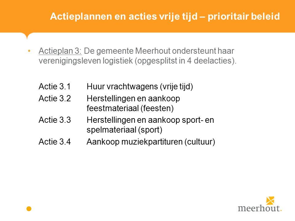 Actieplannen en acties vrije tijd – prioritair beleid Actieplan 3: De gemeente Meerhout ondersteunt haar verenigingsleven logistiek (opgesplitst in 4 deelacties).