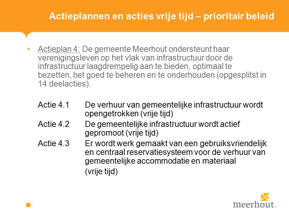 Actieplannen en acties vrije tijd – prioritair beleid Actieplan 4: De gemeente Meerhout ondersteunt haar verenigingsleven op het vlak van infrastructuur door de infrastructuur laagdrempelig aan te bieden, optimaal te bezetten, het goed te beheren en te onderhouden (opgesplitst in 14 deelacties).