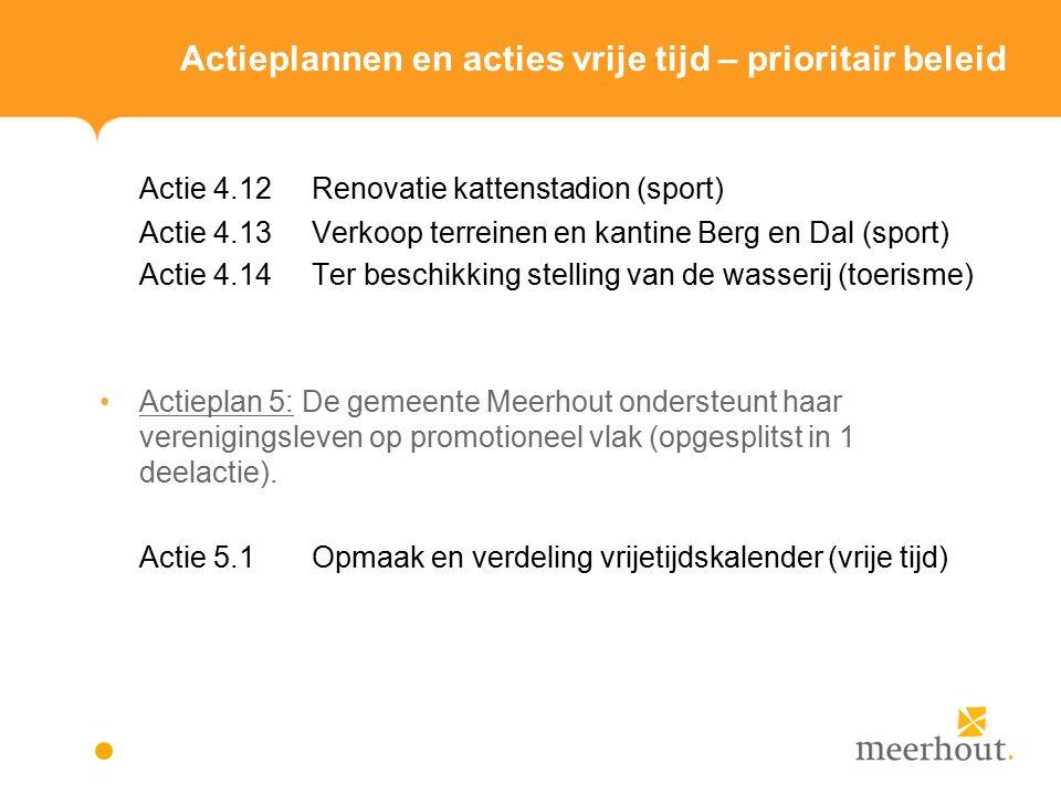 Actieplannen en acties vrije tijd – prioritair beleid Actie 4.12Renovatie kattenstadion (sport) Actie 4.13Verkoop terreinen en kantine Berg en Dal (sport) Actie 4.14Ter beschikking stelling van de wasserij (toerisme) Actieplan 5: De gemeente Meerhout ondersteunt haar verenigingsleven op promotioneel vlak (opgesplitst in 1 deelactie).
