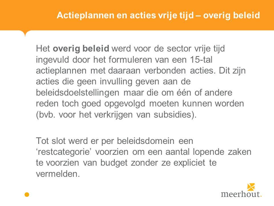 Actieplannen en acties vrije tijd – overig beleid Het overig beleid werd voor de sector vrije tijd ingevuld door het formuleren van een 15-tal actieplannen met daaraan verbonden acties.