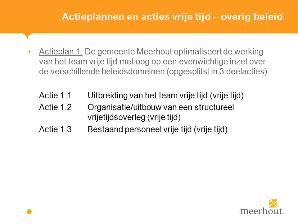 Actieplannen en acties vrije tijd – overig beleid Actieplan 1: De gemeente Meerhout optimaliseert de werking van het team vrije tijd met oog op een evenwichtige inzet over de verschillende beleidsdomeinen (opgesplitst in 3 deelacties).