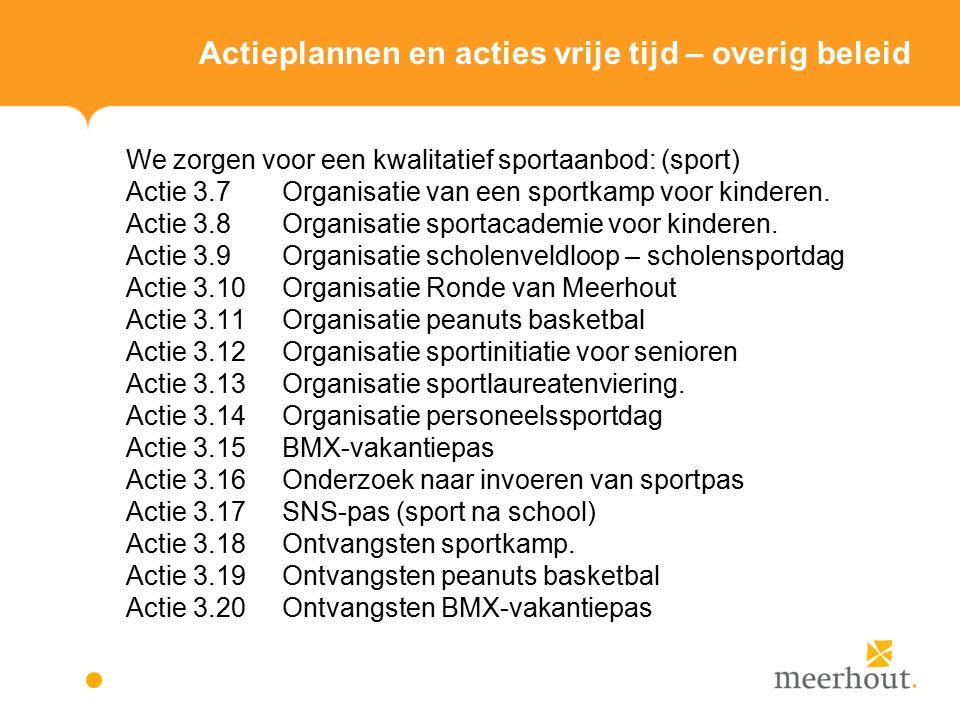 Actieplannen en acties vrije tijd – overig beleid We zorgen voor een kwalitatief sportaanbod: (sport) Actie 3.7 Organisatie van een sportkamp voor kinderen.