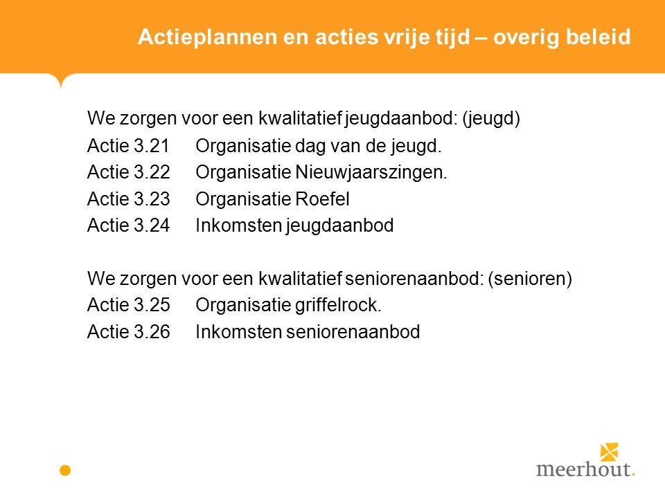 Actieplannen en acties vrije tijd – overig beleid We zorgen voor een kwalitatief jeugdaanbod: (jeugd) Actie 3.21 Organisatie dag van de jeugd.