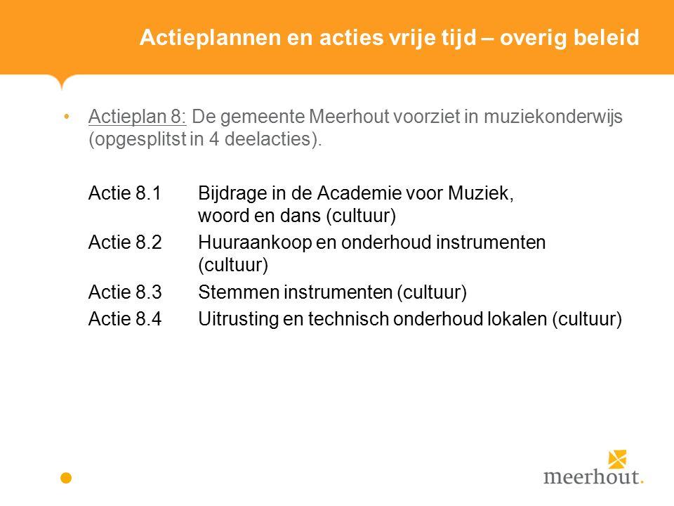 Actieplannen en acties vrije tijd – overig beleid Actieplan 8: De gemeente Meerhout voorziet in muziekonderwijs (opgesplitst in 4 deelacties).