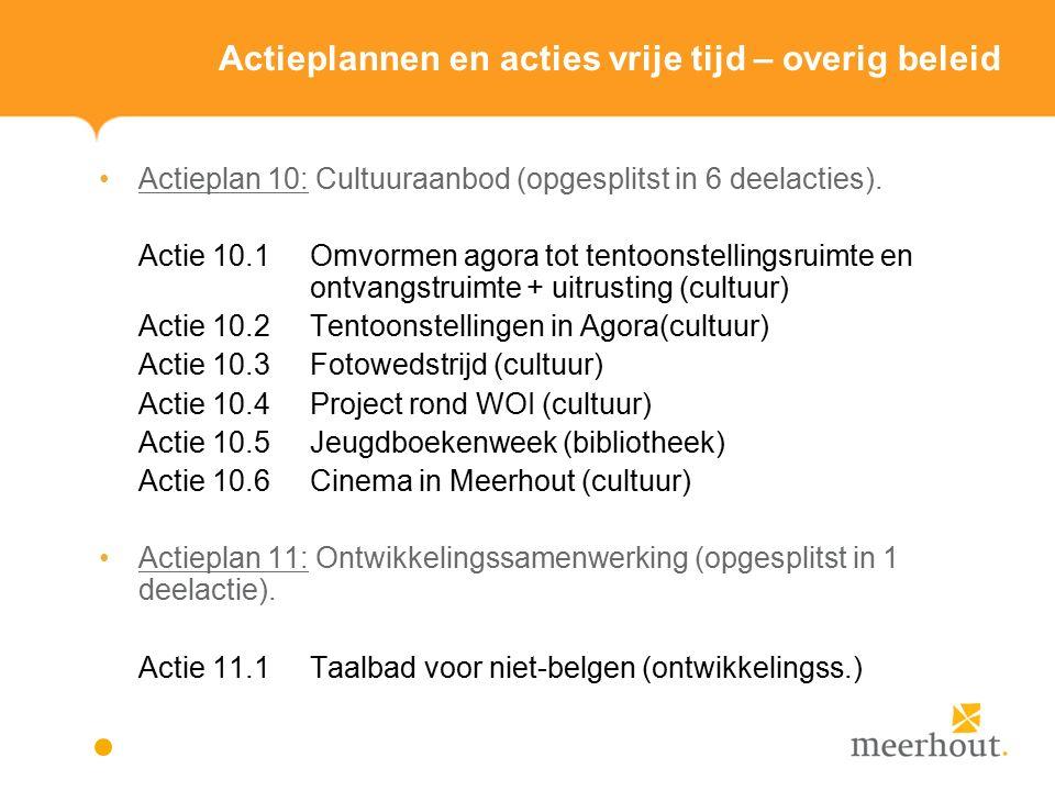 Actieplannen en acties vrije tijd – overig beleid Actieplan 10: Cultuuraanbod (opgesplitst in 6 deelacties).