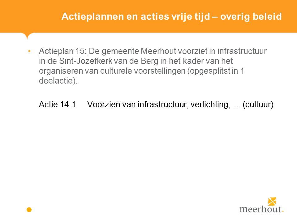 Actieplannen en acties vrije tijd – overig beleid Actieplan 15: De gemeente Meerhout voorziet in infrastructuur in de Sint-Jozefkerk van de Berg in het kader van het organiseren van culturele voorstellingen (opgesplitst in 1 deelactie).