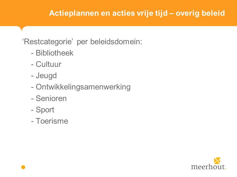 Actieplannen en acties vrije tijd – overig beleid 'Restcategorie' per beleidsdomein: - Bibliotheek - Cultuur - Jeugd - Ontwikkelingsamenwerking - Senioren - Sport - Toerisme