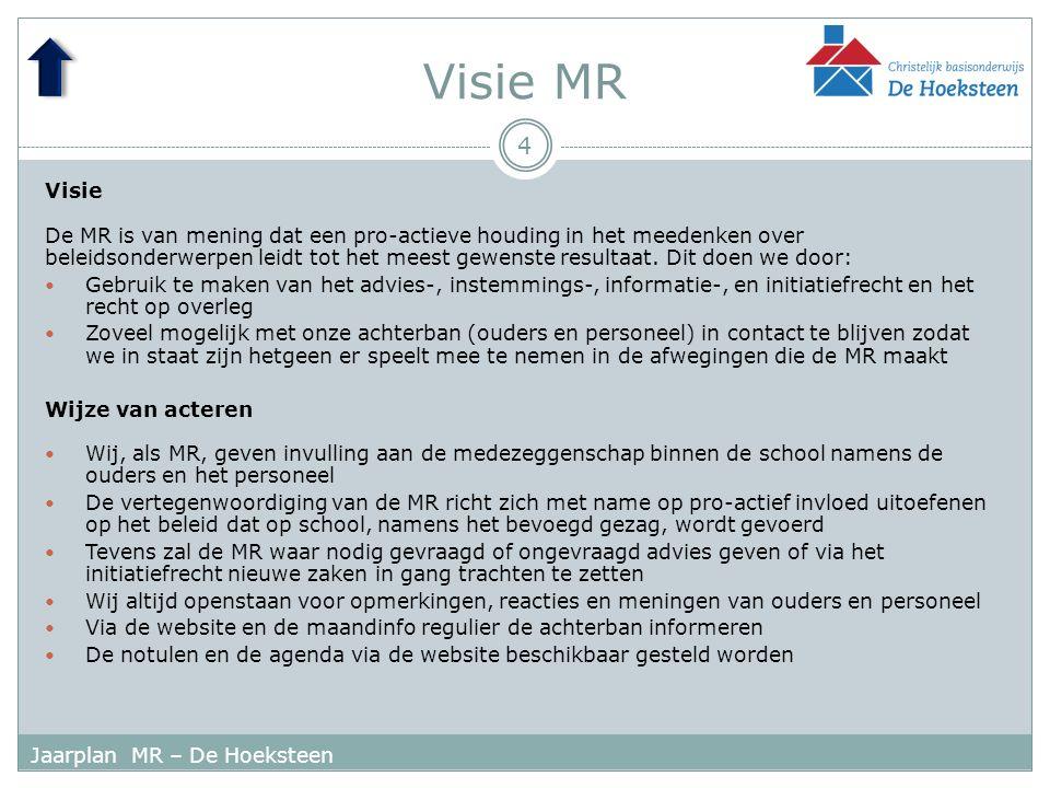 Visie MR 4 Jaarplan MR – De Hoeksteen Visie De MR is van mening dat een pro-actieve houding in het meedenken over beleidsonderwerpen leidt tot het meest gewenste resultaat.
