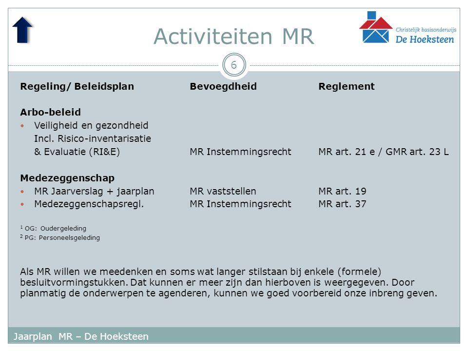 Activiteiten MR 6 Jaarplan MR – De Hoeksteen Regeling/ BeleidsplanBevoegdheidReglement Arbo-beleid Veiligheid en gezondheid Incl.