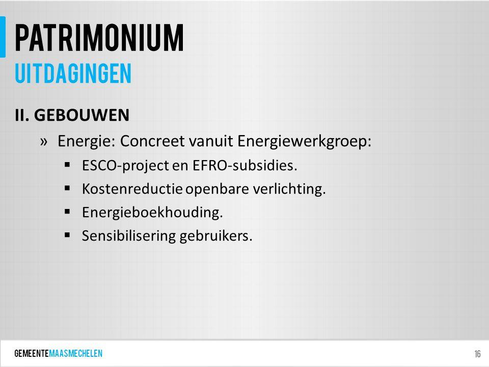 GEMEENTEmaasmechelen patrimonium II. GEBOUWEN »Energie: Concreet vanuit Energiewerkgroep:  ESCO-project en EFRO-subsidies.  Kostenreductie openbare