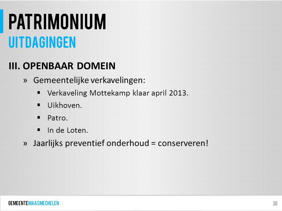 GEMEENTEmaasmechelen patrimonium III. OPENBAAR DOMEIN »Gemeentelijke verkavelingen:  Verkaveling Mottekamp klaar april 2013.  Uikhoven.  Patro.  I
