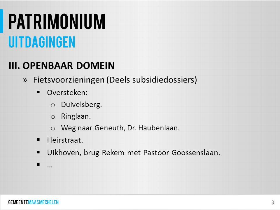 GEMEENTEmaasmechelen patrimonium III. OPENBAAR DOMEIN »Fietsvoorzieningen (Deels subsidiedossiers)  Oversteken: o Duivelsberg. o Ringlaan. o Weg naar