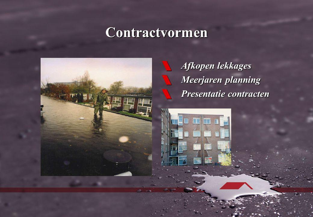 Contractvormen  Afkopen lekkages  Meerjaren planning  Presentatie contracten