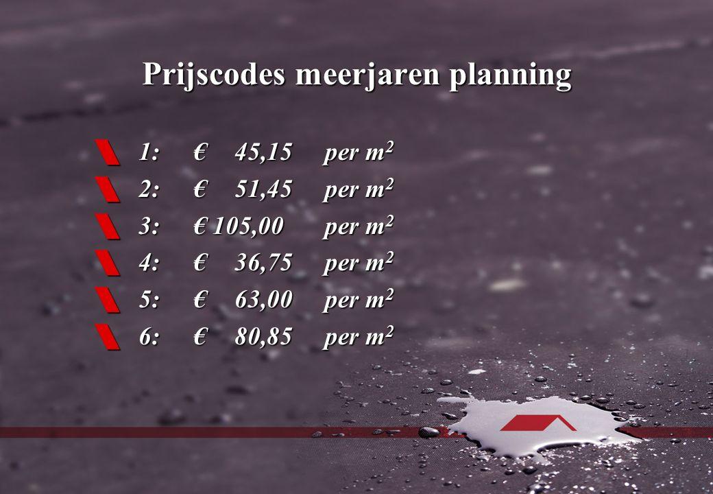 Prijscodes meerjaren planning  1:€45,15per m 2  2:€51,45per m 2  3:€ 105,00per m 2  4:€36,75per m 2  5:€63,00per m 2  6:€80,85per m 2