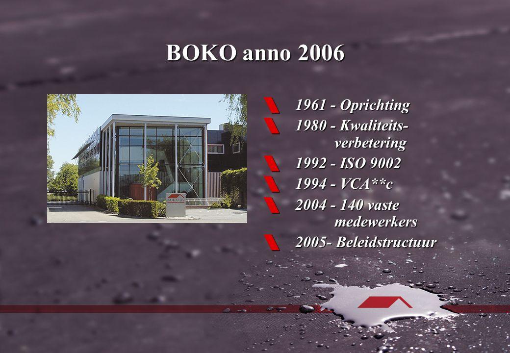 BOKO anno 2006  1961 - Oprichting  1980 - Kwaliteits- verbetering  1992 - ISO 9002  1994 - VCA**c  2004 - 140 vaste medewerkers  2005- Beleidstructuur