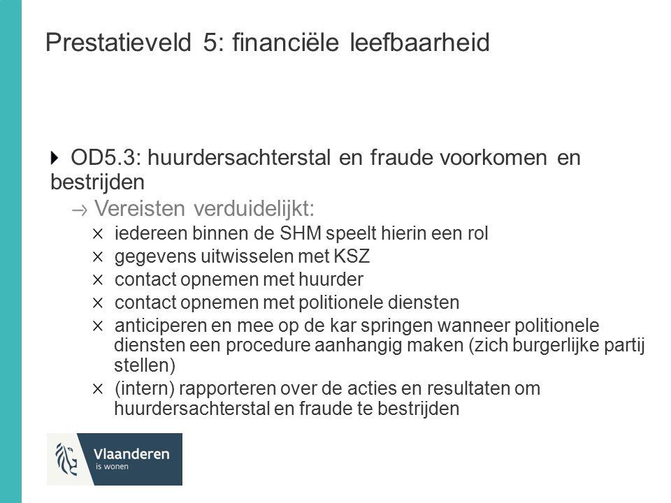 Prestatieveld 5: financiële leefbaarheid OD5.3: huurdersachterstal en fraude voorkomen en bestrijden Vereisten verduidelijkt: iedereen binnen de SHM s