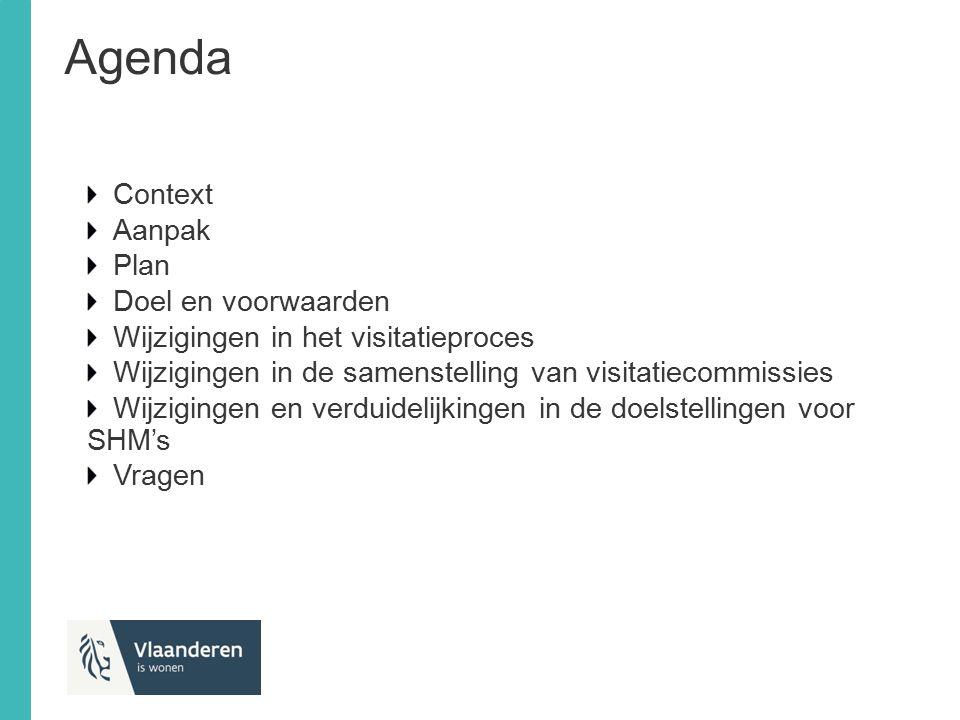 Agenda Context Aanpak Plan Doel en voorwaarden Wijzigingen in het visitatieproces Wijzigingen in de samenstelling van visitatiecommissies Wijzigingen