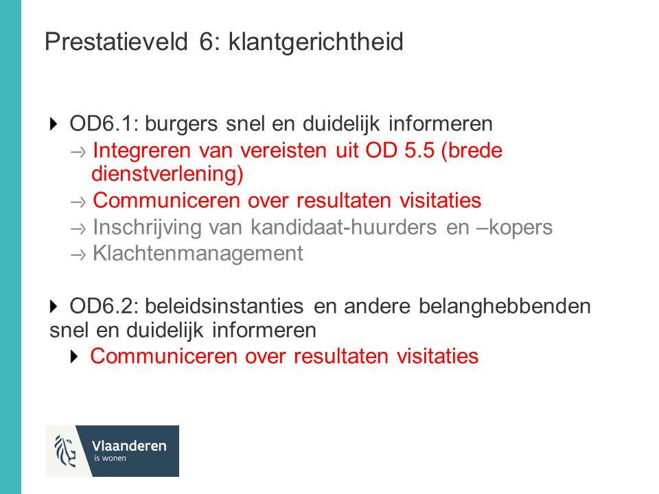 Prestatieveld 6: klantgerichtheid OD6.1: burgers snel en duidelijk informeren Integreren van vereisten uit OD 5.5 (brede dienstverlening) Communiceren