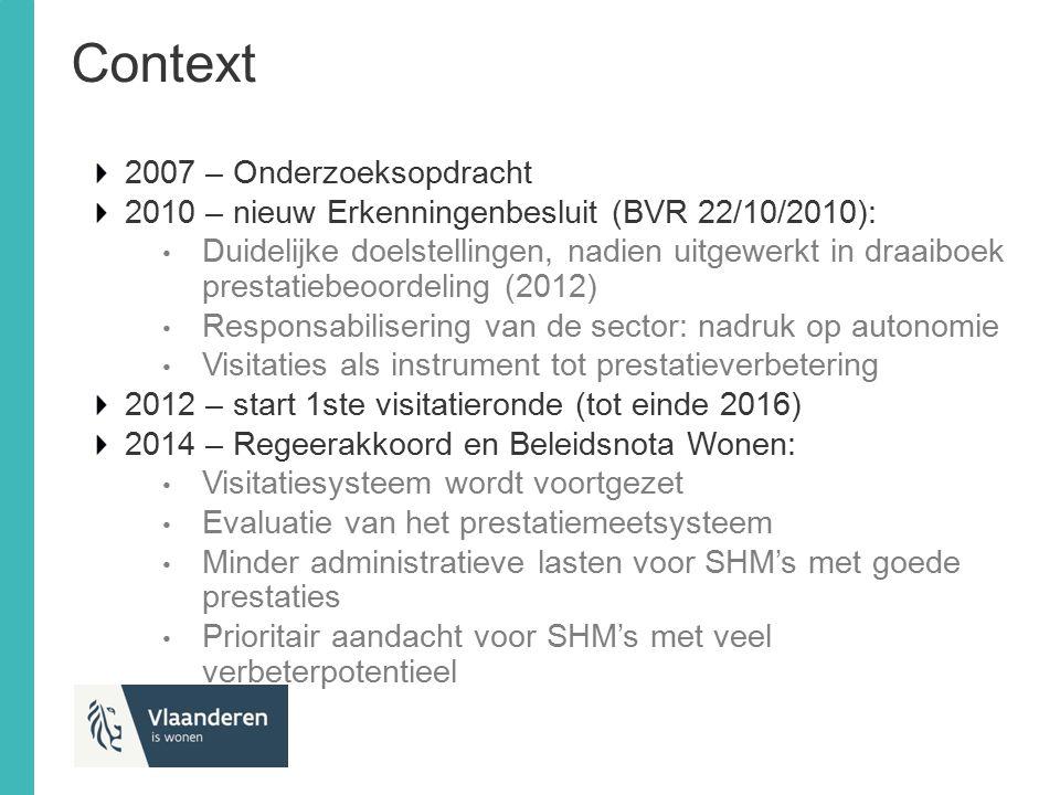 Aanpak Evaluatie door VVH, VLEM, VIVAS, VHP, VVSG, Visitatieraad, Inspectie RWO, VMSW, Wonen-Vlaanderen: mei-juni 2015 Evaluatierapport van 25/08/2015 over het prestatiemeetsysteem van sociale huisvestingsmaatschappijen: doeltreffend instrument voor beoogde doelen beperkt aantal gewijzigde inzichten noodzaken tot wijziging draaiboek prestatiebeoordeling 4 gemengde werkgroepen (sector en administratie) bereiden wijzigingen aan draaiboek voor (september 15 – maart 16) Opm.: specifieke sectorbetrokkenheid op 3 momenten: Alle SHM's bevraagd en verwerkt in evaluatie sector Voorbereiding en terugkoppeling in diverse interne werkgroepen binnen de sector Regelmatige terugkoppeling traject op DC, RvB, provinciale vergaderingen VVH