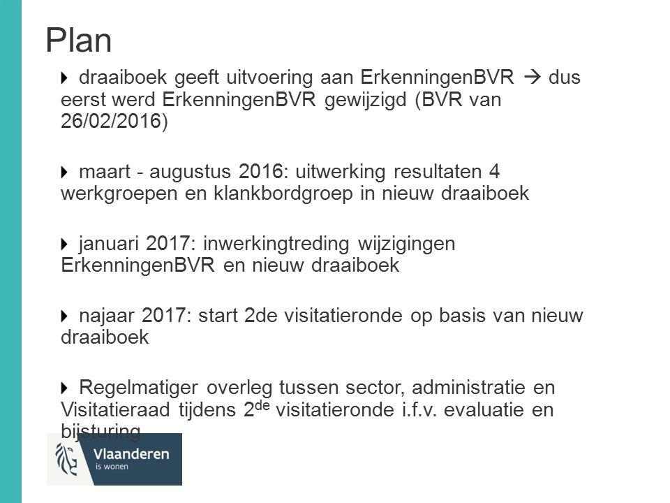 Plan draaiboek geeft uitvoering aan ErkenningenBVR  dus eerst werd ErkenningenBVR gewijzigd (BVR van 26/02/2016) maart - augustus 2016: uitwerking re