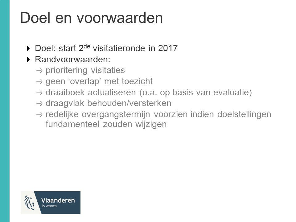 Doel en voorwaarden Doel: start 2 de visitatieronde in 2017 Randvoorwaarden: prioritering visitaties geen 'overlap' met toezicht draaiboek actualisere